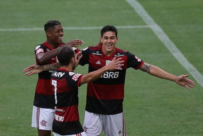 "Campeonato Brasileiro.""rodada 13 - FLAMENGO x ATHLETICO-PR. O Atacante Pedro comemora seu gol.  Foto de Daniel Castelo Branco."