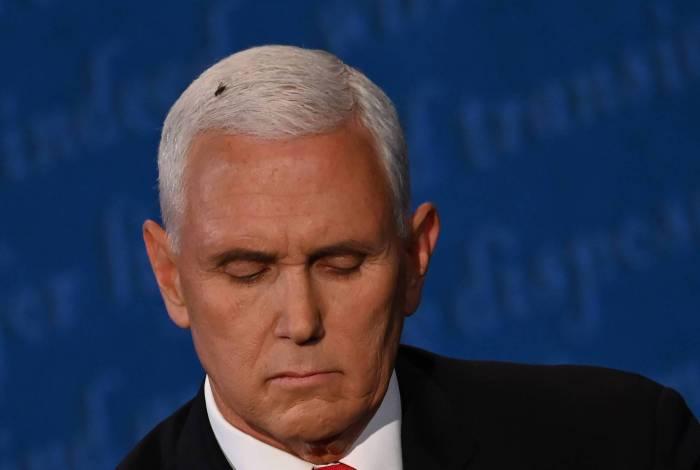 Mosca pouca na cabeça do vice-presidente dos EUA, Mike Pence