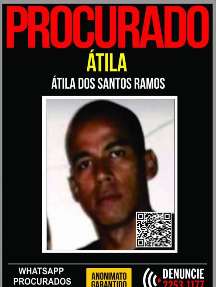 Polícia pede informações que possam levar a prisão de Átila dos Santos Ramos