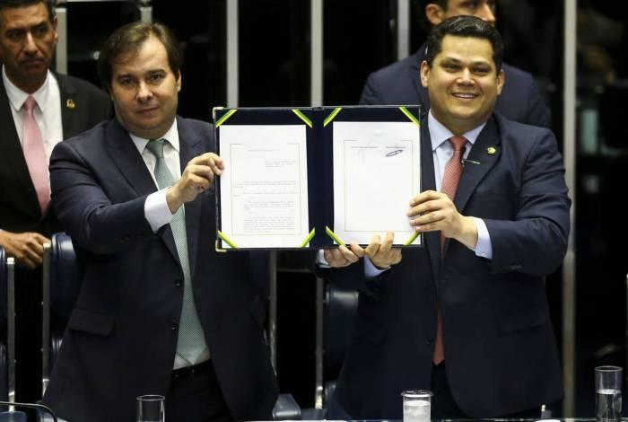 Os presidentes da Câmara, Rodrigo Maia, e do senado, Davi Alcolumbre
