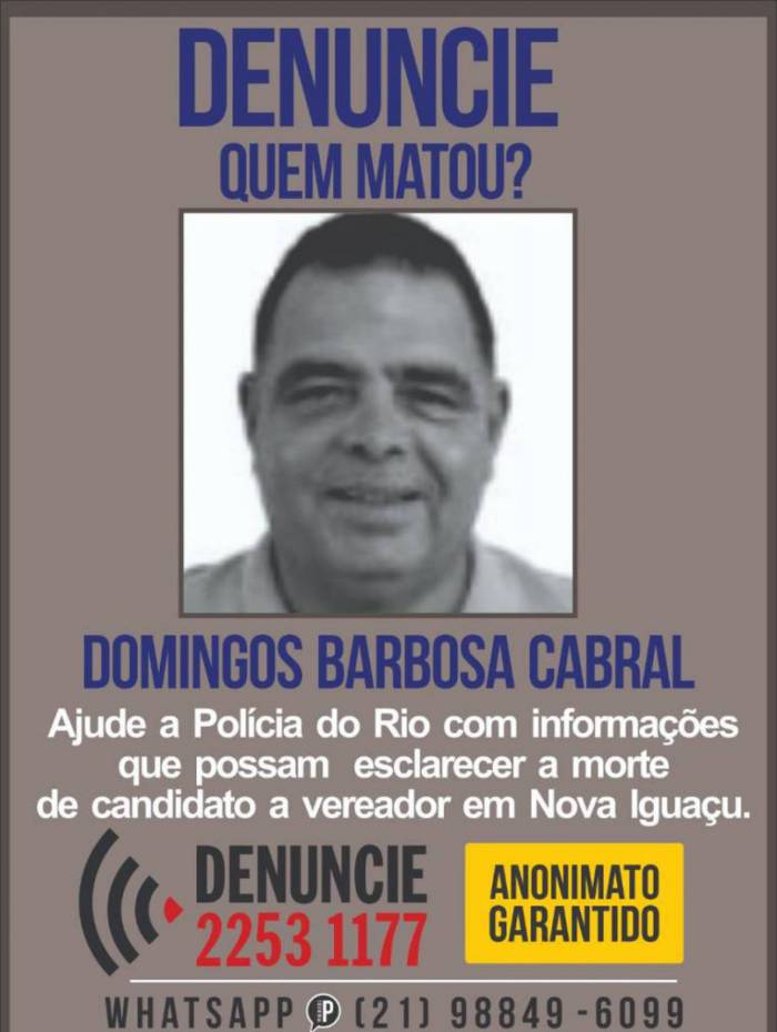 Portal dos Procurados divulga cartaz pedindo informações sobre a morte do candidato a vereador Mauro Miranda