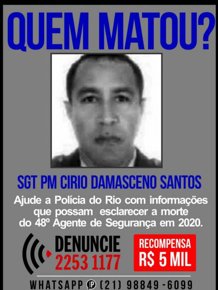 Portal dos Procurados divulga cartaz para obter informações sobre morte de Círio Damasceno Santos, de 51 anos, lotado no 14º BPM