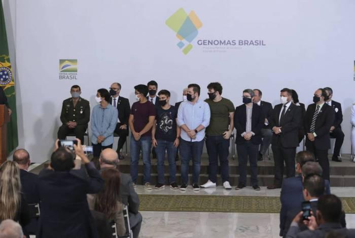 O presidente Jair Bolsonaro, participa do lançamento do Programa Genomas Brasil  no Palácio do Planalto