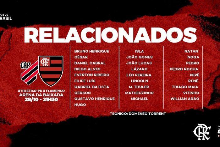 Flamengo divulga relacionados para o jogo de ida das oitavas de final da Copa do Brasil contra o Athletico