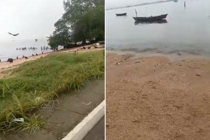Trechos dos vídeos em que uma pessoa filma partes de um corpo na faixa de areia de uma praia de Magé, na Baixada Fluminense