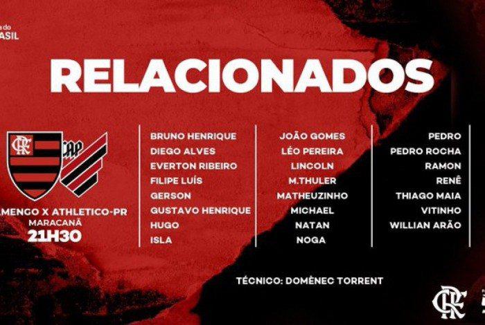 Flamengo divulga relacionados para a partida contra o Athletico-PR pela Copa do Brasil