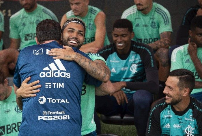 Rogério Ceni e Gabigol no treino do Flamengo