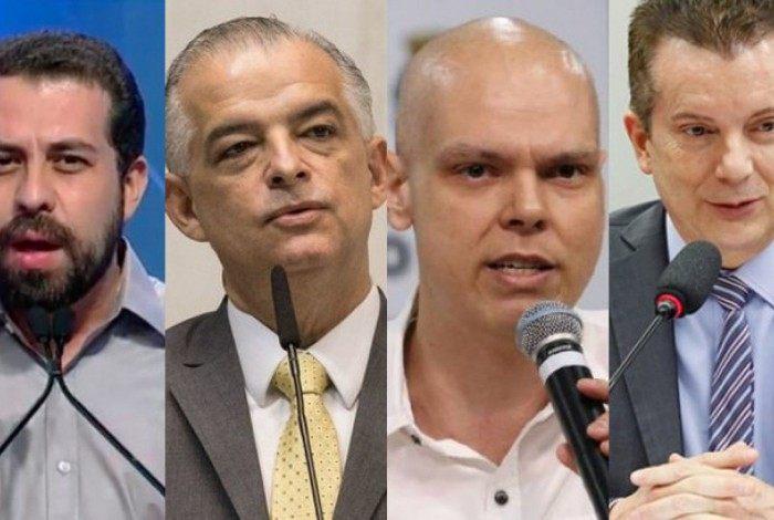 Guilherme Boulos (PSOL), Marcio França (PSB), Bruno Covas (PSDB) e Celso Russomanno
