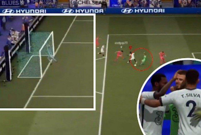 No Fifa 21, o goleiro inglês De Gea fez um gol bizarro