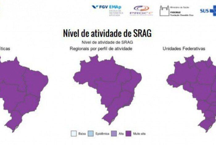 Nível de atividade da Síndrome Respiratória Aguda Grave (SRAG) foi considerada muito alta em todo o país