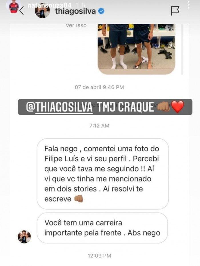 Thiago Silva entrou em contato com Natan