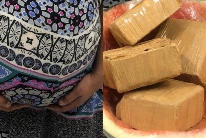 Mulher utilizava melancia para fingir gravidez e transportar cocaína. Ela foi presa em flagrante por tráfico de drogas