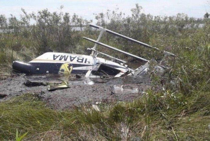 Helicóptero do Ibama cai no Pantanal e piloto morre no acidente