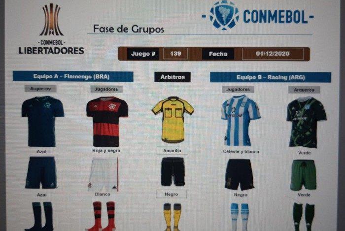 Uniformes de Flamengo e Racing para o duelo desta terça-feira