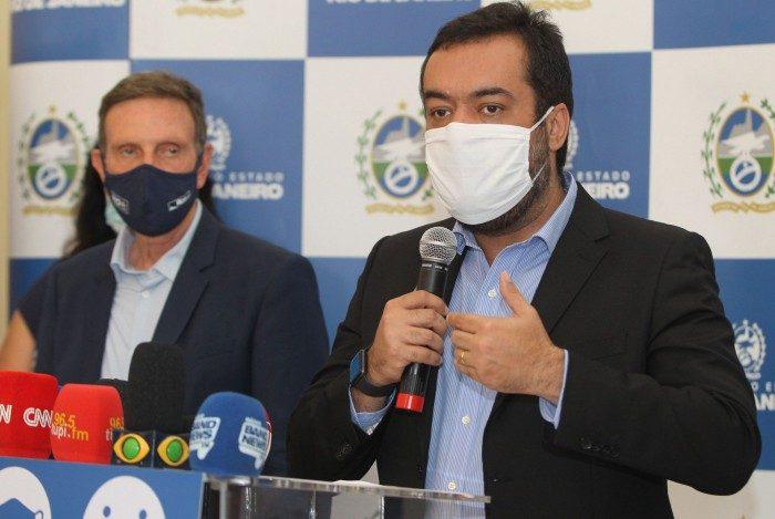 Em coletiva no Palácio Guanabara, o Prefeito Crivella e o Governador em exercício,Claudio Castro, anunciam novas medidas contra o Covid - 19.