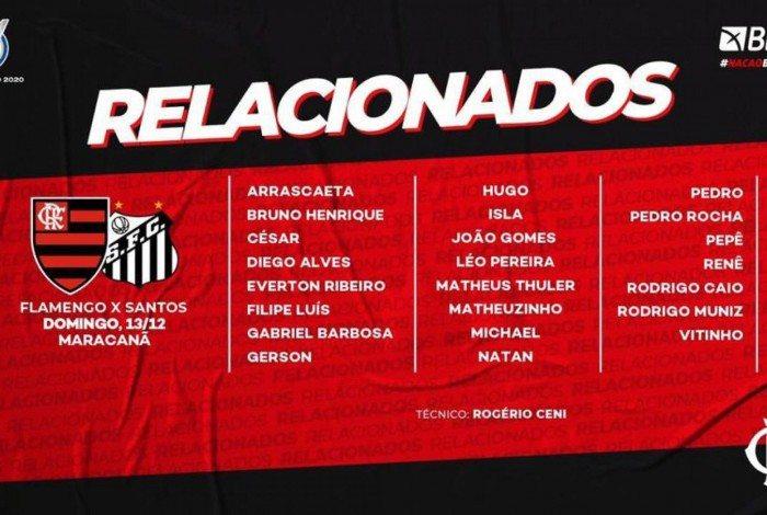 Flamengo divulga relacionados para encarar o Santos no Brasileirão
