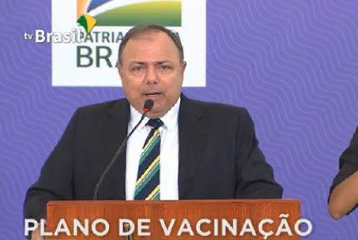 Ministro da Saúde, Eduardo Pazuello em lançamento de plano nacional de vacinação contra a covid-19