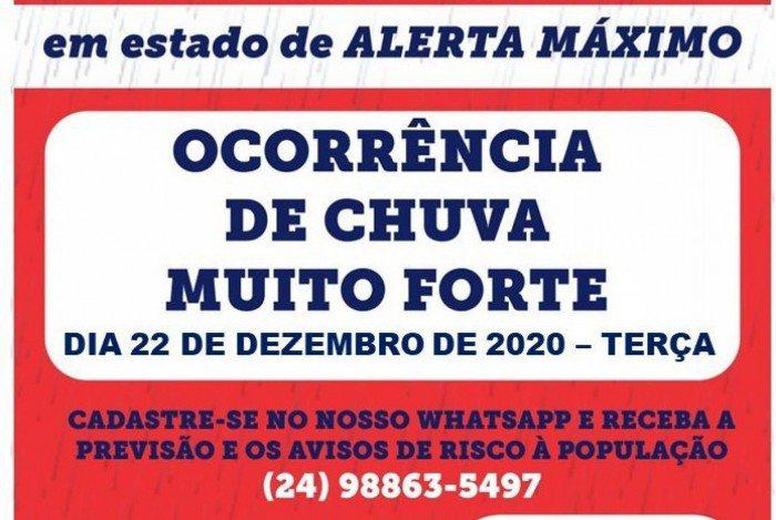 Alerta da Defesa Civil de Petrópolis