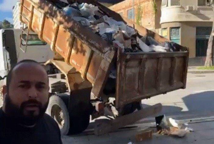 Rafael Tubarão mostra momento em que caminhão despeja lixo na frente do Inea