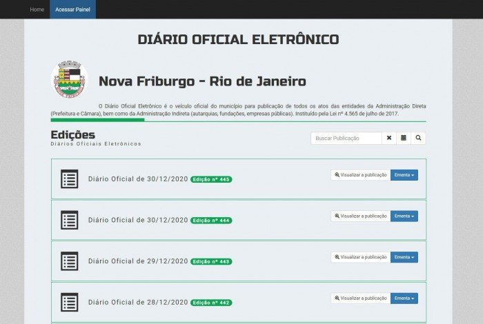 Página principal do Diário Oficial Eletrêonico de Nova Friburgo nesta quarta-feira, 6 de janeiro