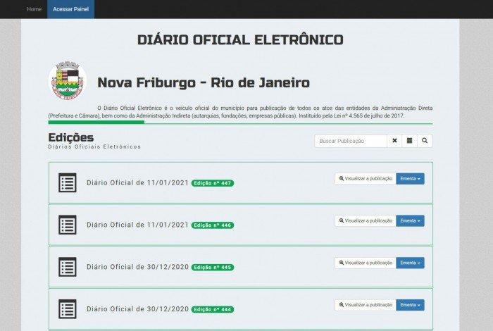 Atos oficiais voltaram a ser publicados no Diário Oficial Eletrônico de Nova Friburgo