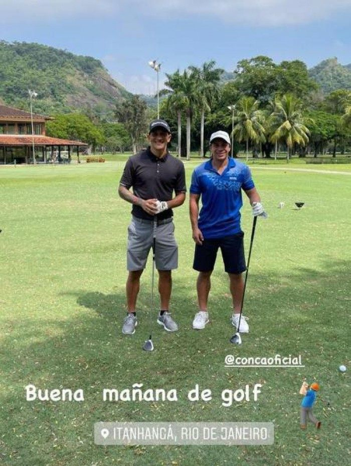 Cano e Conca jogam golf nesta manhã de qaurta-feira