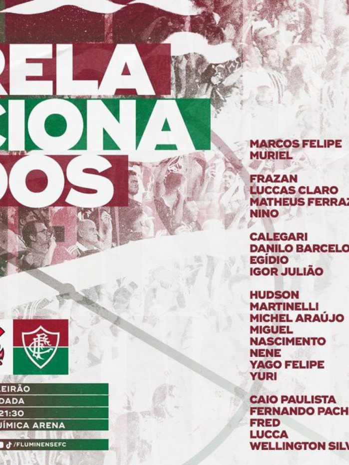 Fluminense divulga lista de relacionados para partida contra o Corinthians