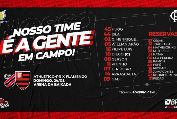 Flamengo escalado para enfrentar o Athletico