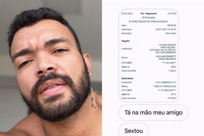 Sertanejo Thiago Brava está pagando conta de fãs