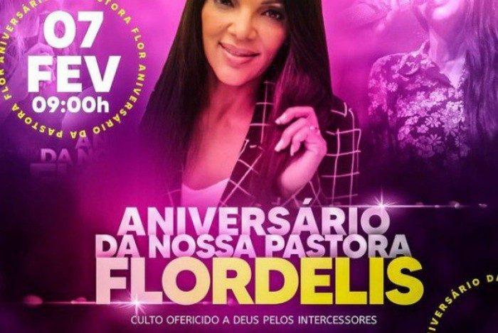 Deputada federal Flordelis divulga culto para celebrar aniversário