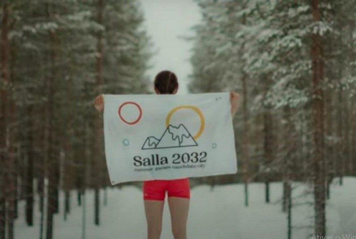 Logo da campanha fictícia da cidade finlandesa Salla para a Olimpíada de 2032