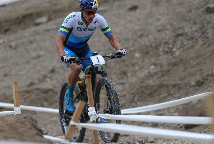 O atleta petropolitano Henrique Avancini na prova de mountain bike dos Jogos Pan-Americanos de Lima 2019