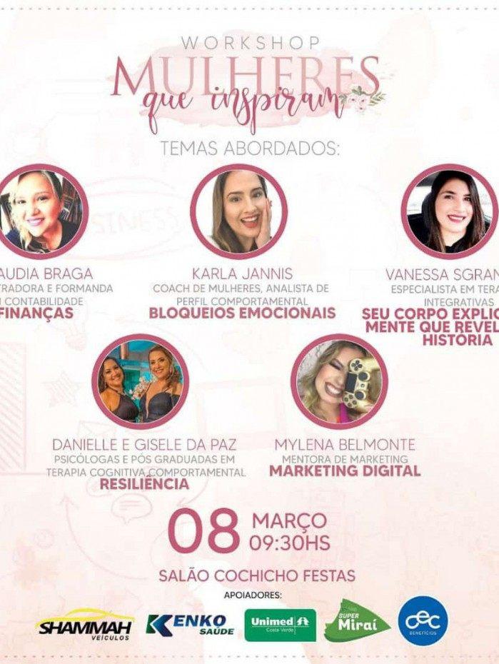 Cartaz do evento: palestrantes vão trazer aspectos do universo feminino para compor reflexões úteis para empreender e mudar de vida