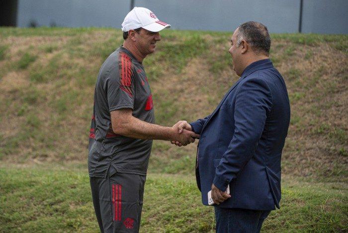 Rogério Ceni e Marcos Braz no Ninho do Urubu nesta segunda-feira