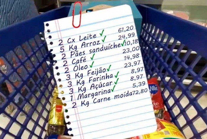 Assistente social tenta fazer compras de itens da cesta básica com R$ 250