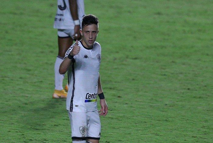 Vasco enfrenta o Botafogo pela 4 rodada do Campeonato Carioca 2021 em São Januario. Comemoração de Matheus Frizzo no gol do Botafogo.