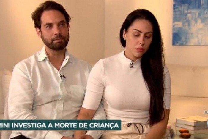 Jairinho e Monique em entrevista ao Domingo Espetacular