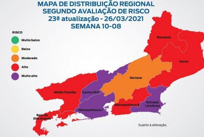 Mapa de 26/3 mostra três regiões em risco muito alto