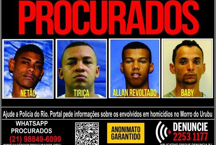 Portal dos Procurados pede informações sobre quatro envolvidos em assassinatos no Morro do Urubu