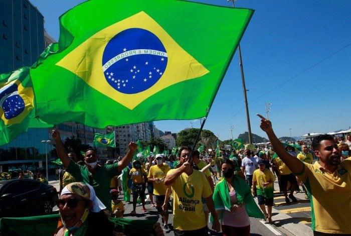 Fotos da manifestação a favor de Bolsonaro na Zona Sul do Rio.
