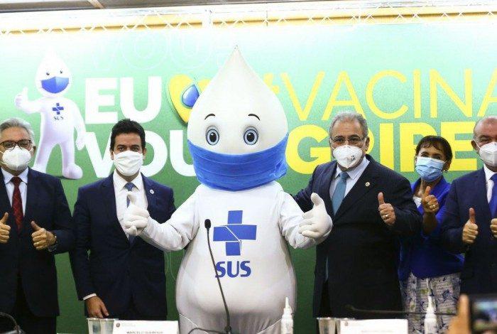 Ministro da Saúde, Marcelo Queiroga, durante o lançamento da Campanha Nacional de Vacinação contra a gripe