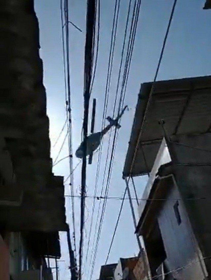 Imagens de helicóptero sobrevoando o bairro de São Lucas.