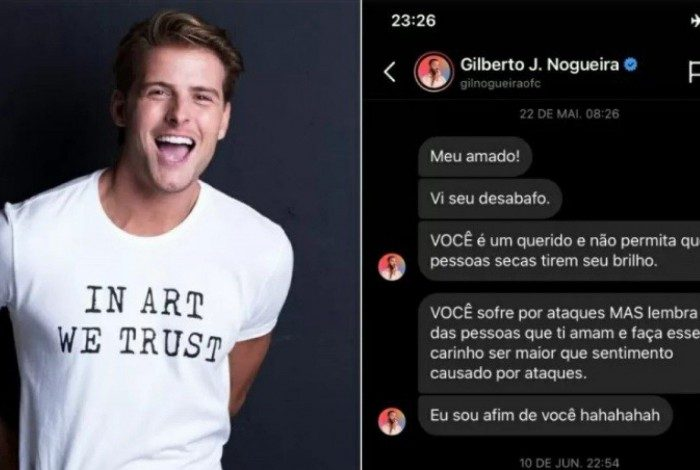 Daniel mostra mensagens que recebeu de Gil no ano passado