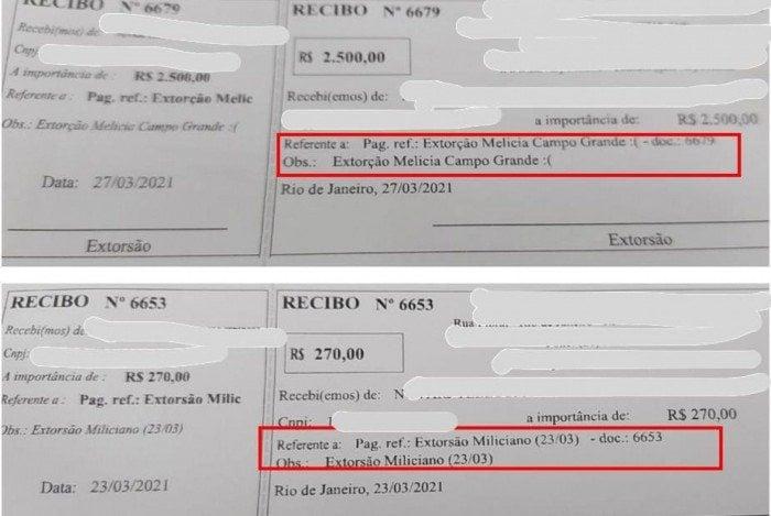 Os agentes apreenderam recibos de pagamento feitos à milícia em que constam o título