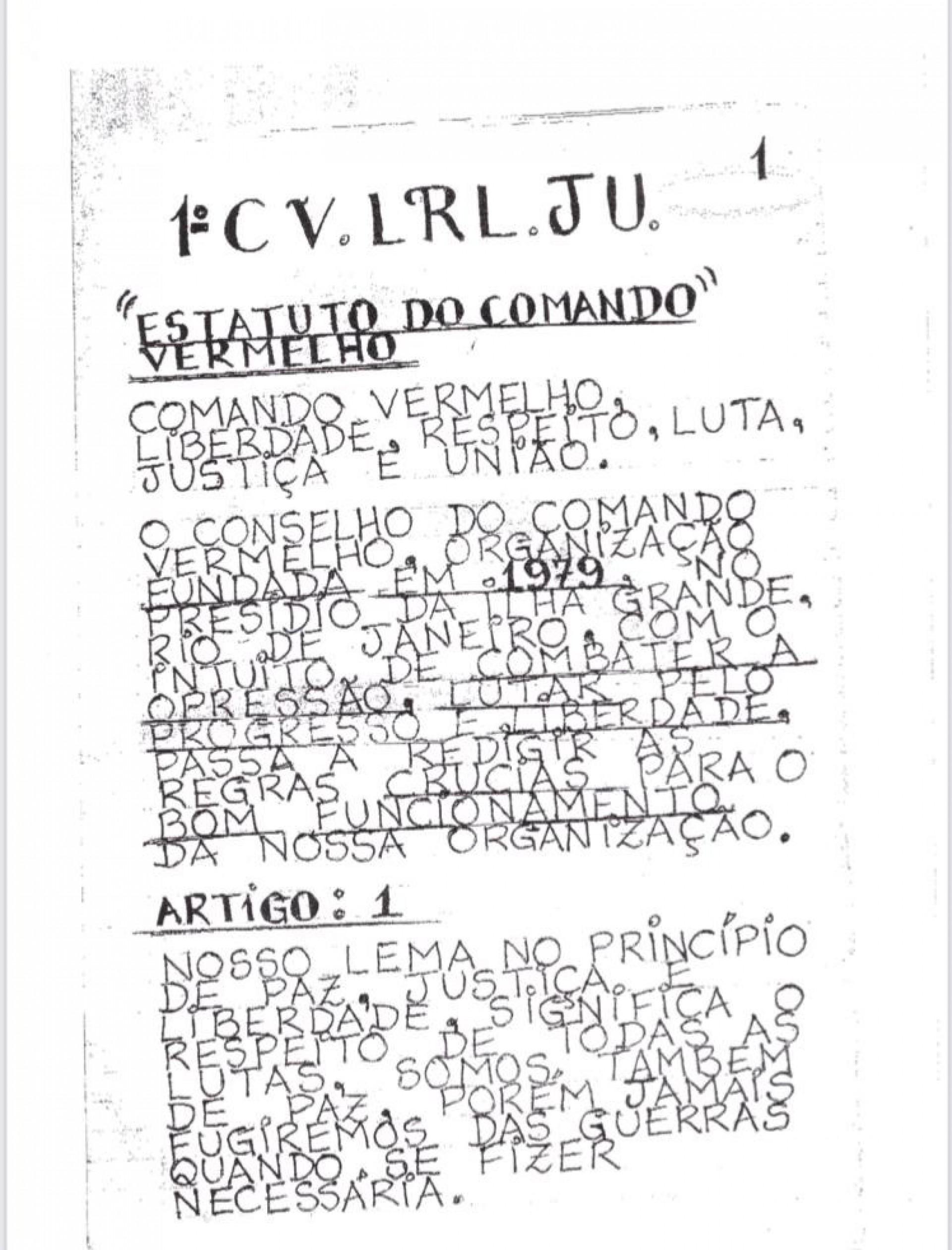 Polícia Civil analisa estatuto do Comando Vermelho que circula nos presídios do Estado do Rio