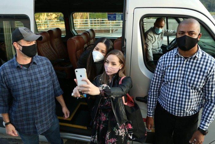 Juliette no aeroporto de Congonhas, em São Paulo