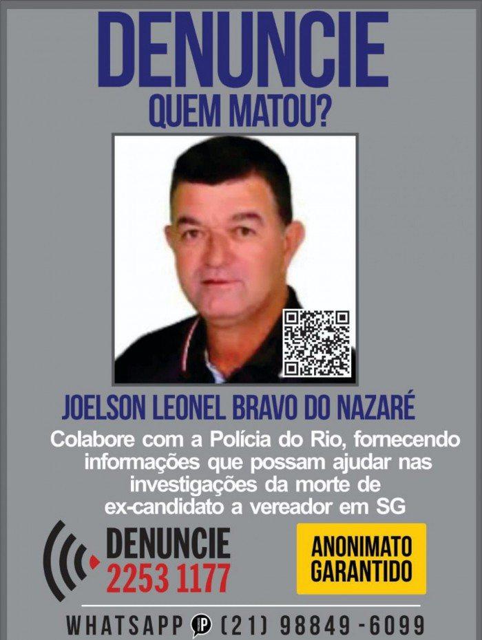 Cartaz pede ajuda para identificar assassinados de candidato a vereador de São Gonçalo