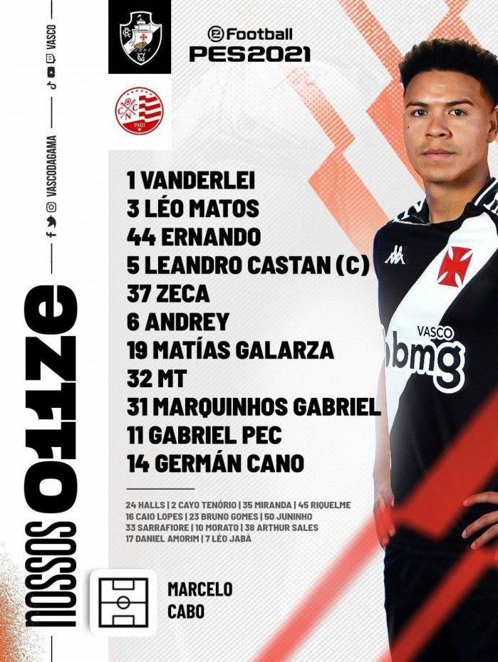 Escalação do Vasco para enfrentar o Náutico, pela 12ª rodada da Série B