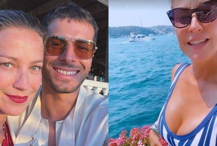 De férias com o namorado na Turquia, Luana Piovani bebe champagne
