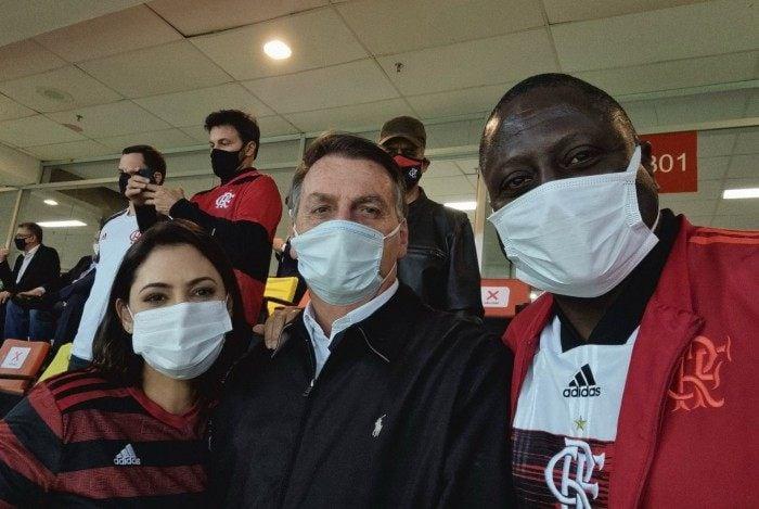 Michelle Bolsonaro, Jair Bolsonaro e Hélio Negão